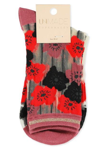 Rode glittersokken met bloemen