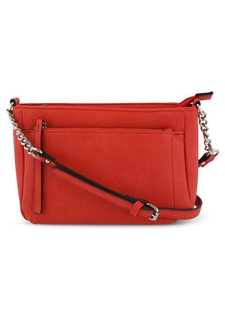 Rode handtas met schouderlint - kunstleder