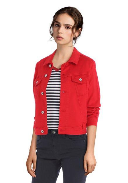 Rode jeansvest met geborduurde biezen
