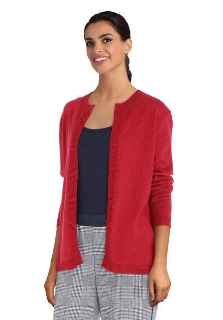 Rode open cardigan met lurex