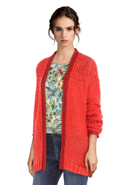 Rode open cardigan met lurex