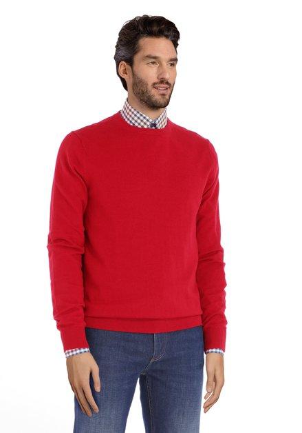 Rode trui met ronde geribde hals