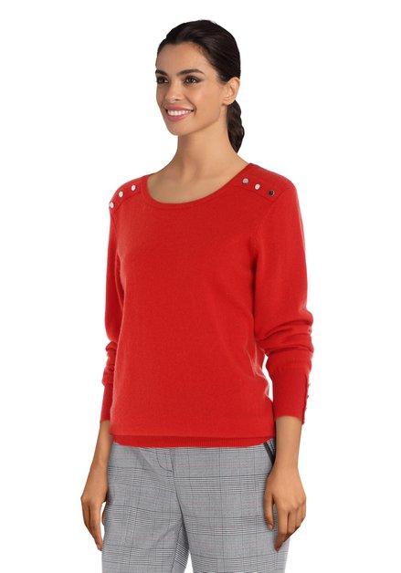 Rode wollen trui met zilverkleurige studs
