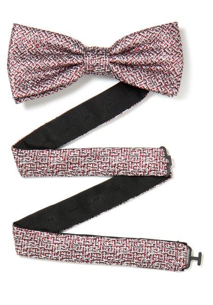 Rode zijden strikdas met fijne print