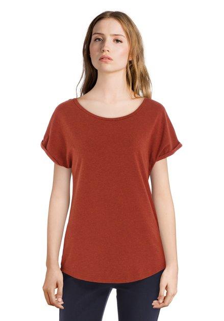 Roestbruin T-shirt met omslagboord