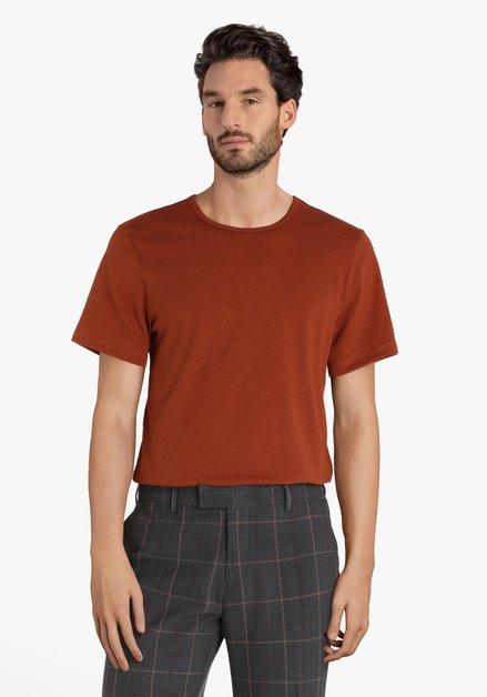 Roestbruine T-shirt met ronde hals