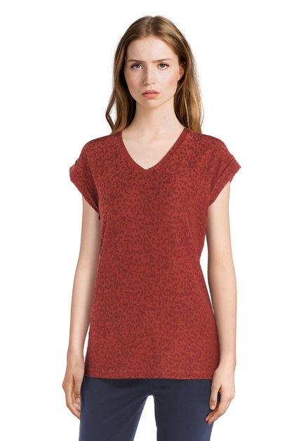 Roestkleurig T-shirt met panterprint