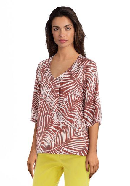 Roestkleurige blouse met bladerprint