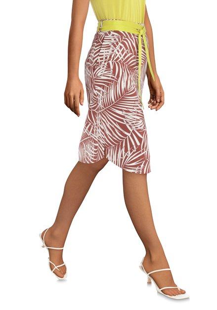 Roestkleurige rok met bladerprint