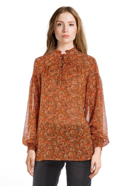 Roestoranje blouse met bloemen en smokwerk