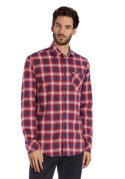 Rood-blauw hemd met flou ruiten - regular fit