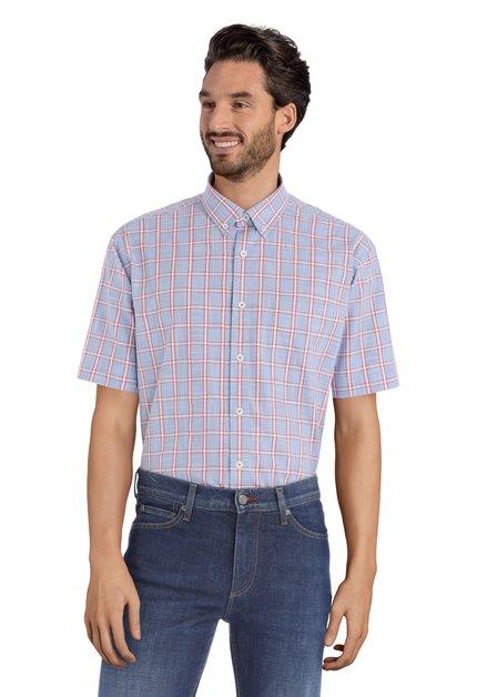 Rood en blauw hemd met korte mouwen – comfort fit