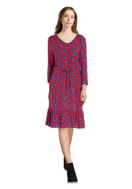 Rood kleed met blauwe print en taillelint