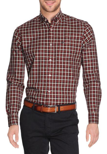 Rood-zwart geruit hemd - regular fit