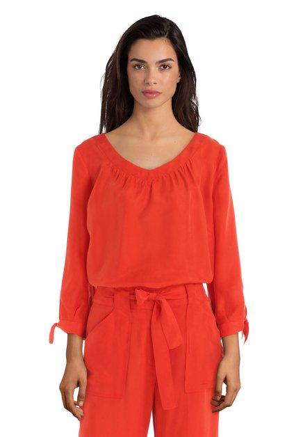 Roodoranje blouse met cupro