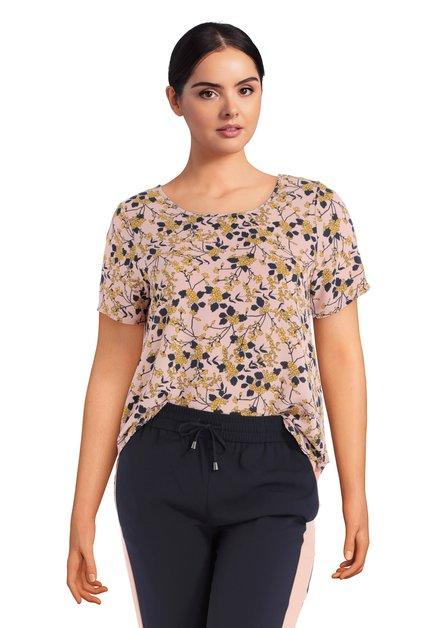 Roze blouse met blauw-geel bloemenmotief