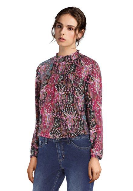 Roze blouse met kleurrijke print