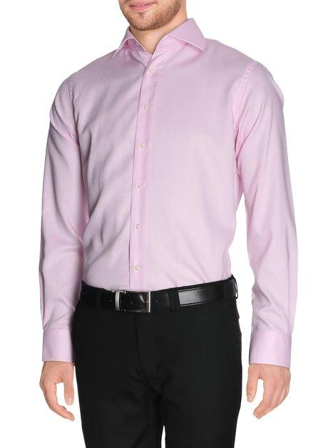 Roze hemd met fijne structuur - slim fit