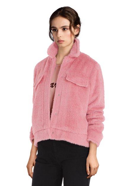 Roze korte vest in faux-fur