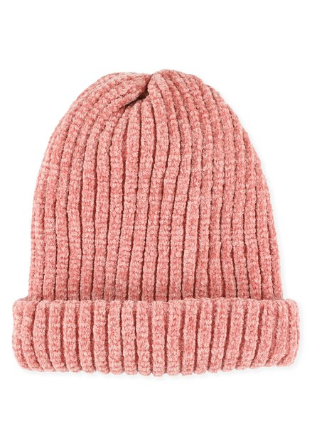 Roze muts van chenille