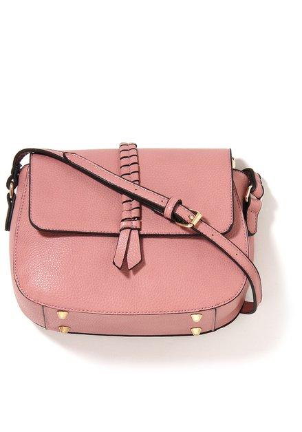 Roze neplederen handtas met gevlochten detail