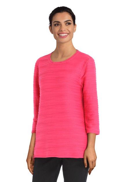 Roze T-shirt in structuurstof