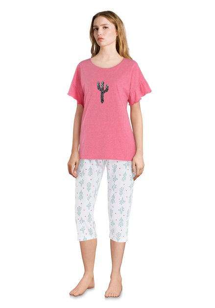 Roze/witte pyjama met cactussen