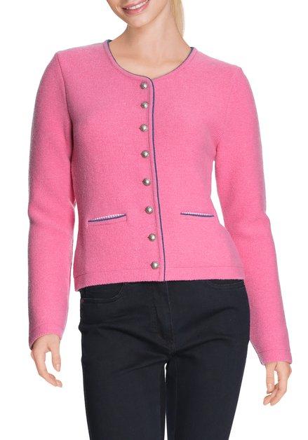 Roze wollen cardigan met zilverkleurige knopen