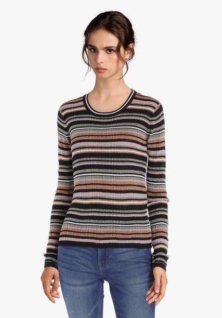 Roze-zwart gestreepte trui met lurex