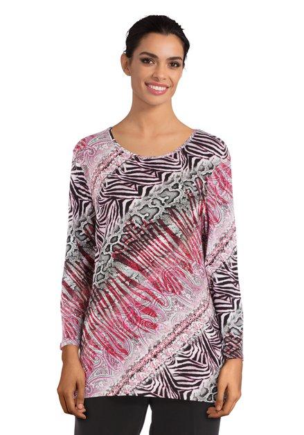 Roze-zwart T-shirt met eclectische print