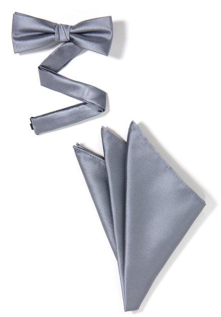 Set van 2: grijze strikdas en pochet