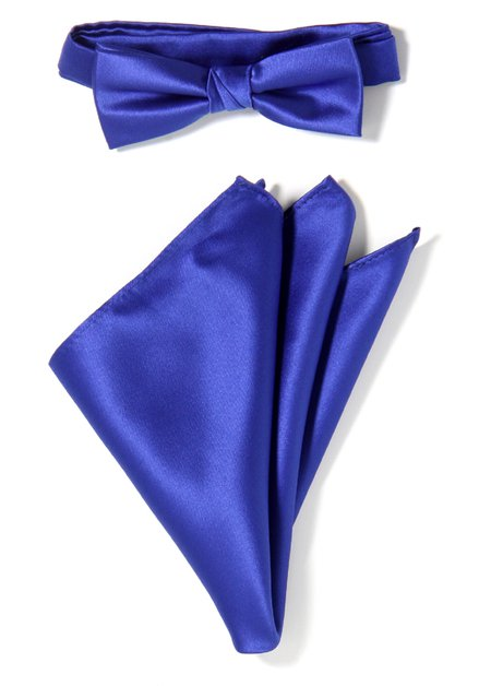 Set van 2: koningsblauwe strikdas en pochet