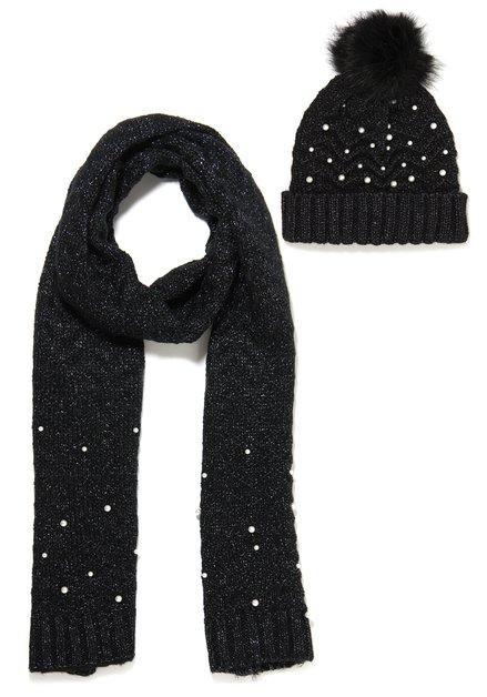 Set van 2: zwarte muts en sjaal met ecru parels