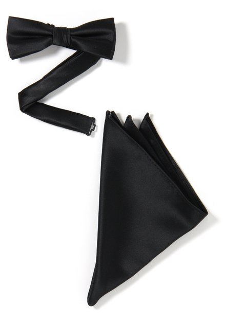 Set van 2: zwarte strikdas en pochet