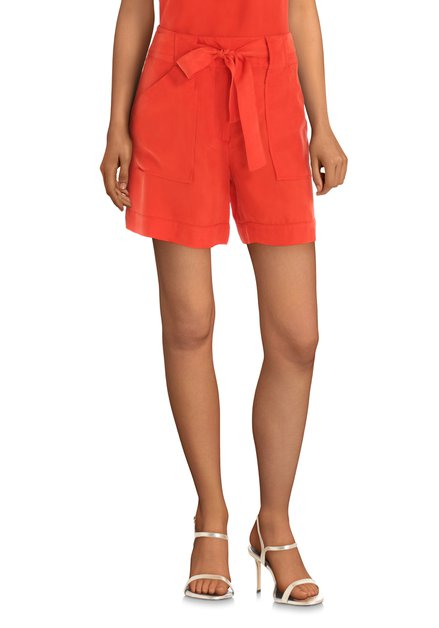 Short rouge orange en cupro