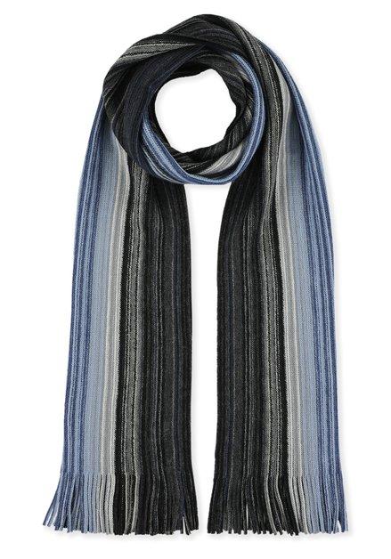 Sjaal met zwarte en blauwe strepen