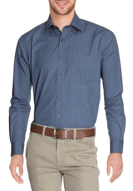 Staablauw hemd met oker minprint - regular fit