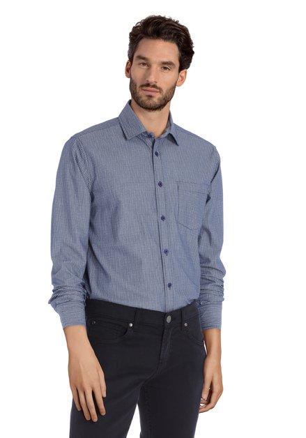 Staalblauw hemd met grijze miniprint - regular fit