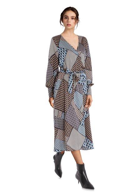 Staalblauw kleed met geometrische print
