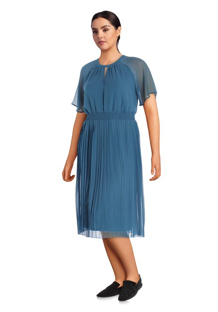 Staalblauw kleed met plissé stof