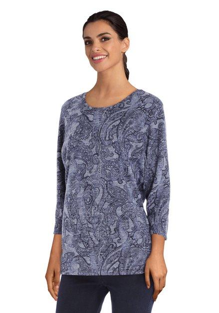 Staalblauw T-shirt met paisleymotief