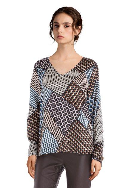Staalblauwe blouse met geometrische print