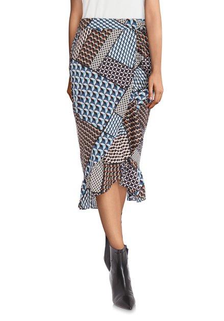 Staalblauwe rok met geometrische print en ruches