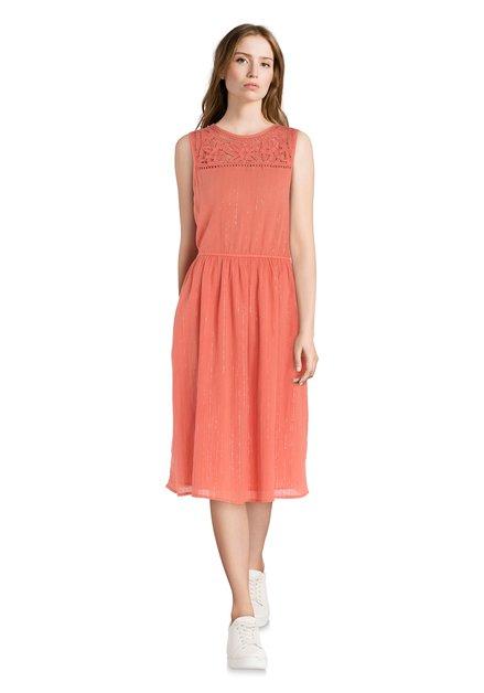 12262afe33c917 Steenrode jurk met kant en lurex