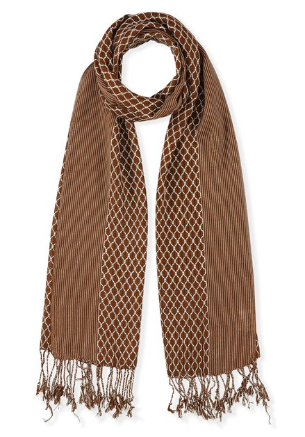Steenrode sjaal met wit motif en franjes