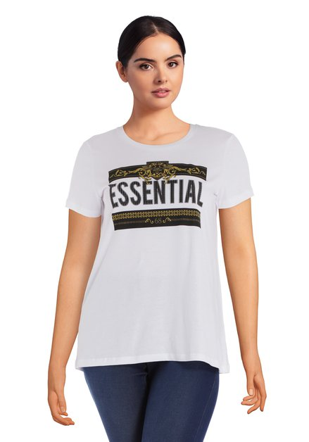 T-shirt 'Essential' blanc à encolure ronde