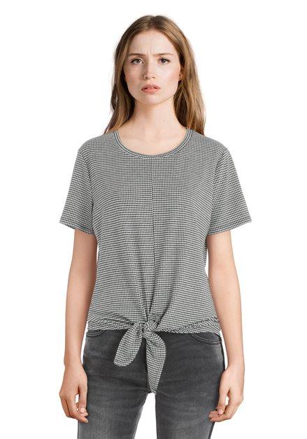 T-shirt à carreaux en noir et blanc avec noeud