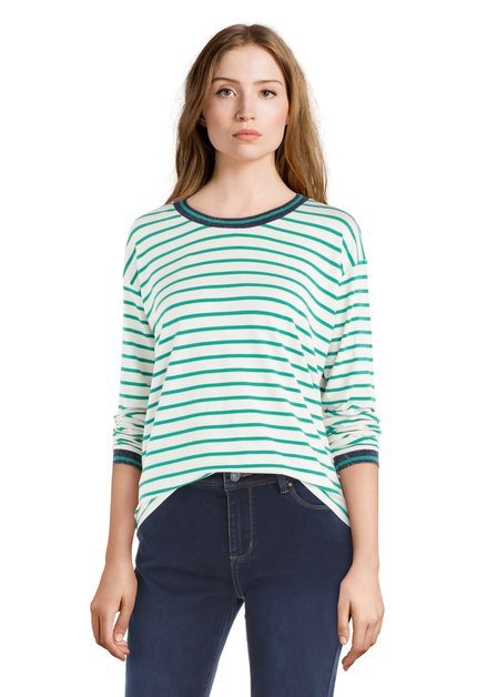 T-shirt à longues manches vert-blanc avec lurex