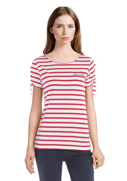 T-shirt à rayures rouges et texte «Séville»