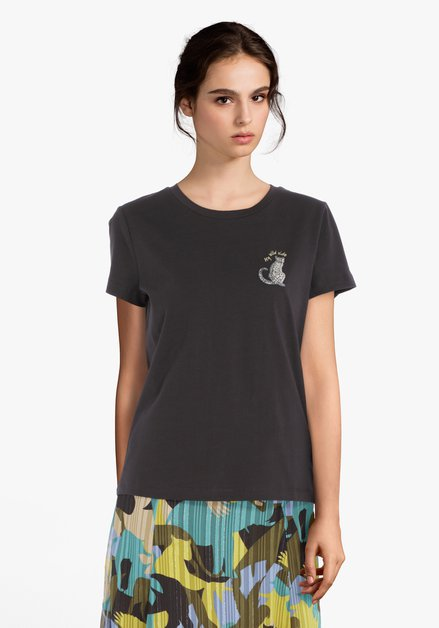 T-shirt anthracite avec panthère brodée